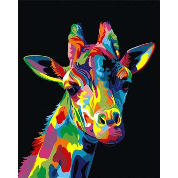 Kit De Peinture Par Numéros Girafe Arc En Ciel 50x40cm