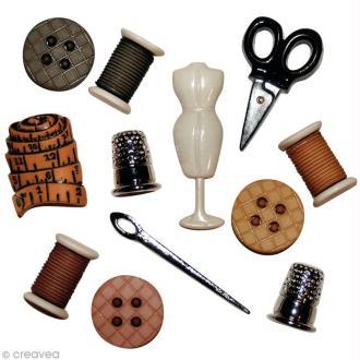 Assortiment de boutons décoratif - salle de couture x 12