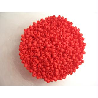 10G Rocailles verre 8/0 Toho rouge tomate mat 3mm