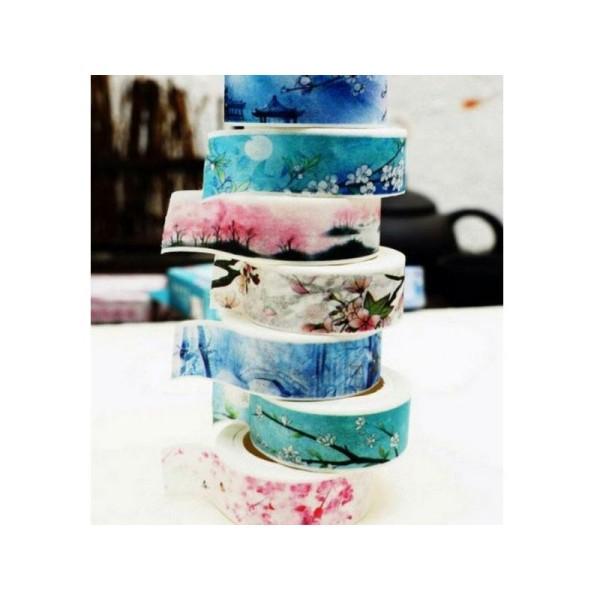 7 Washi Tape rubans adhésifs scrapbooking 1,5 cm x 7 m ASIE TEMPLE FLEUR - Photo n°2
