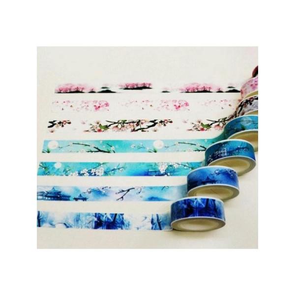 7 Washi Tape rubans adhésifs scrapbooking 1,5 cm x 7 m ASIE TEMPLE FLEUR - Photo n°1