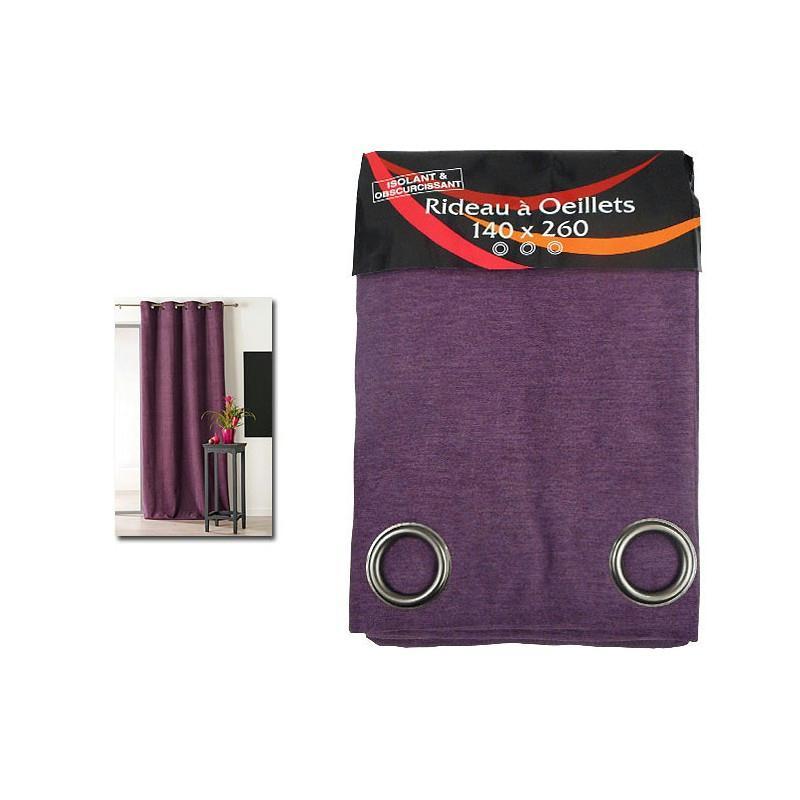 rideau isolant thermique 140x260 pret poser violet tissu voile et r sille creavea. Black Bedroom Furniture Sets. Home Design Ideas