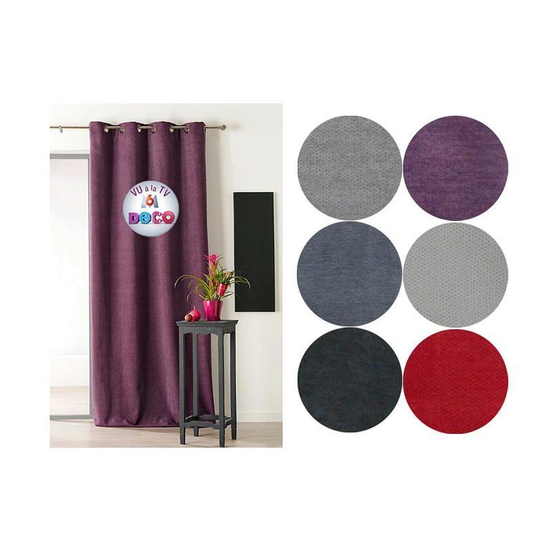rideau isolant thermique 140x260 pret poser beige tissu voile et r sille creavea. Black Bedroom Furniture Sets. Home Design Ideas