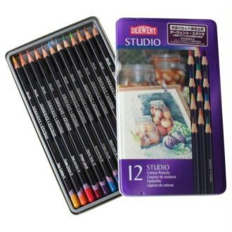 Derwent Studio Crayons de couleur Boîte métal de 12 Import Royaume Uni