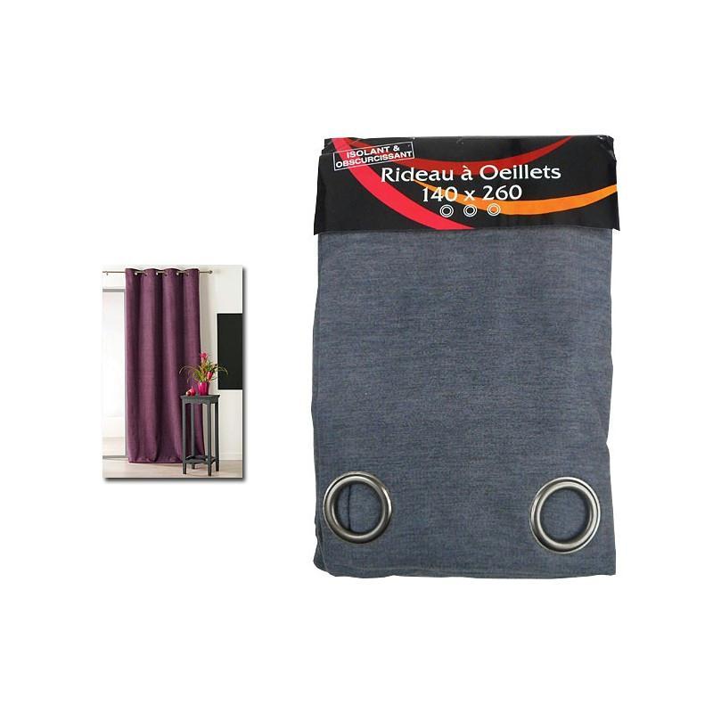 rideau isolant thermique 140x260 pret poser gris fonc tissu voile et r sille creavea. Black Bedroom Furniture Sets. Home Design Ideas