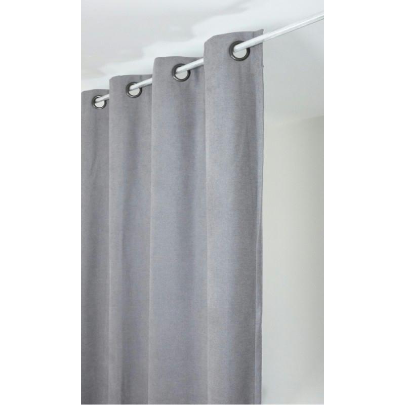 rideau isolant thermique 140x260 pret poser gris clair tissu voile et r sille creavea. Black Bedroom Furniture Sets. Home Design Ideas