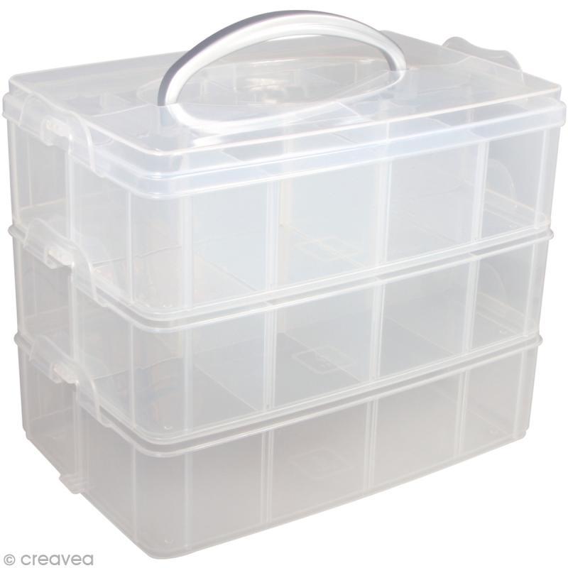 Boîte de rangement transparente avec poignée - 23,1 x 15,6 cm - Photo n°1