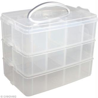 Boîte de rangement transparente avec poignée - 23,1 x 15,6 cm