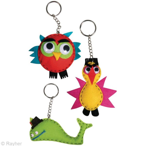 Kit feutrine porte-clé - Animaux - 3 pcs - Photo n°2
