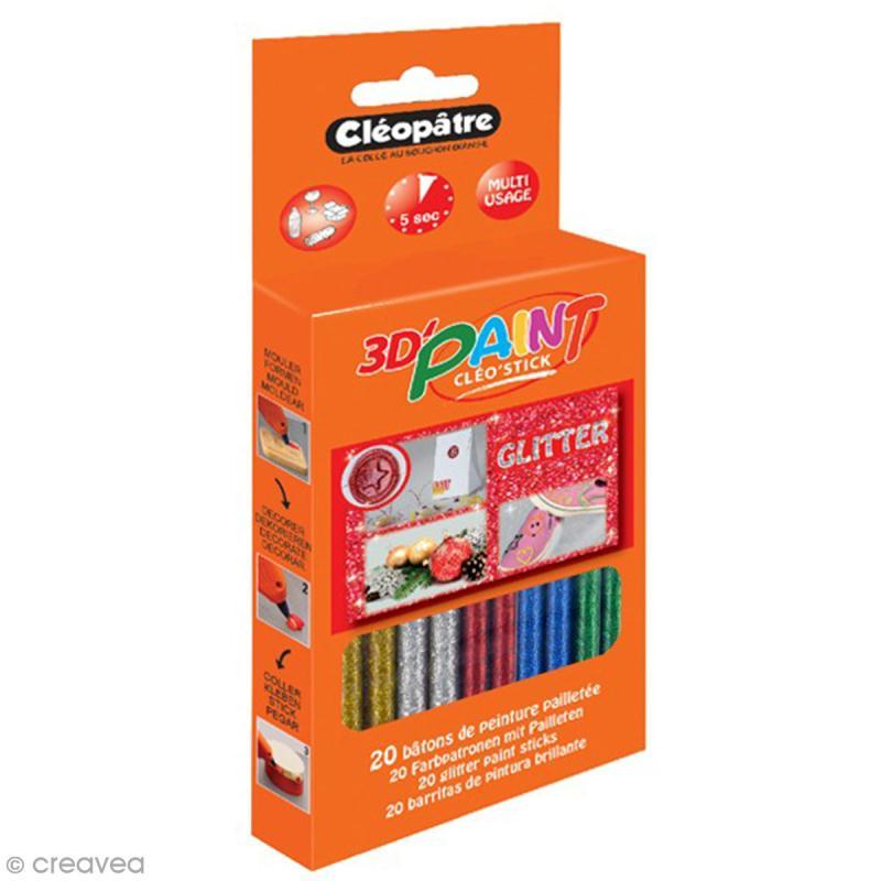 Bâtonnets peinture 3D Cléo'stick - 5 couleurs pailletées - 20 pcs - Photo n°1