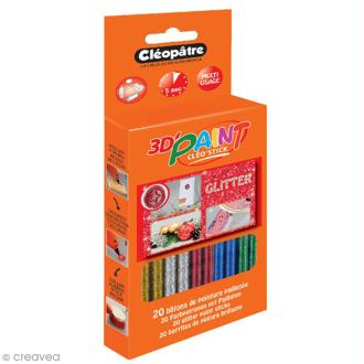 Bâtonnets peinture 3D Cléo'stick - 5 couleurs pailletées - 20 pcs