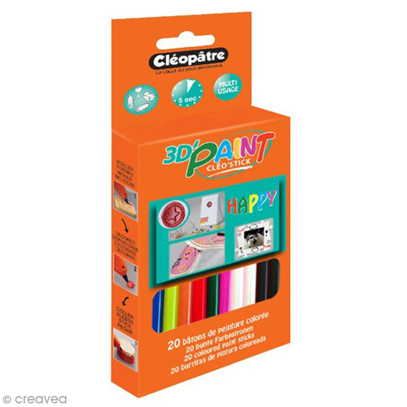 Bâtonnets peinture 3D Cléo'stick - 8 couleurs flashy - 20 pcs - Photo n°1