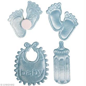 Miniature bébé en satin - bleu layette - 2 à 2,5 cm x 36