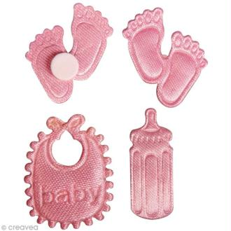 Miniature bébé en satin - rose layette - 2 à 2,5 cm x 36