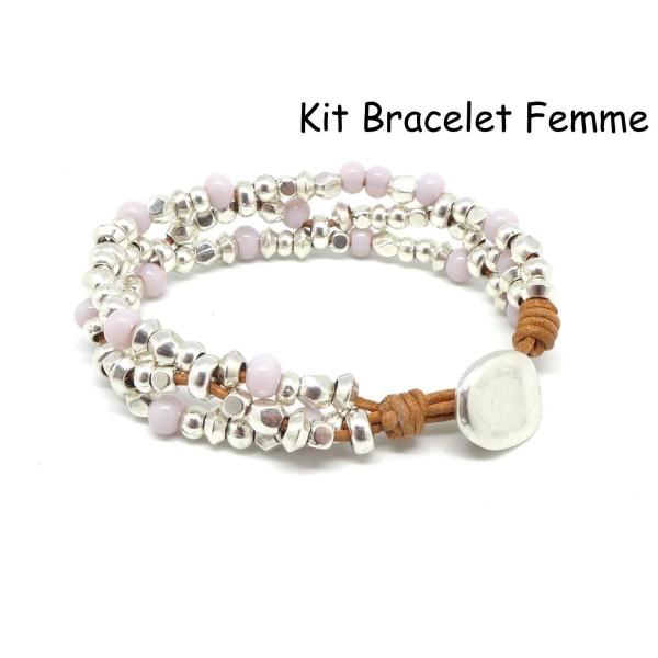 code promo 85559 eb53c Kit Bijoux Bracelet Femme Cuir, Perle Argenté Et Perle Rose Pastel -  Bracelet Mila