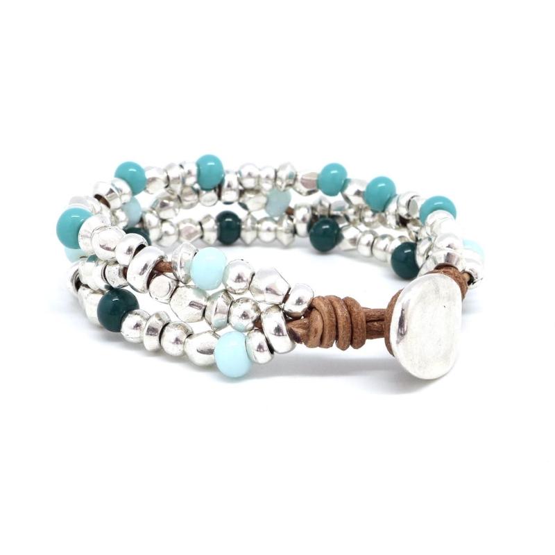 kit bracelet en cuir perle argent et perle assorties bleu turquoise bleu pastel et vert fonc. Black Bedroom Furniture Sets. Home Design Ideas