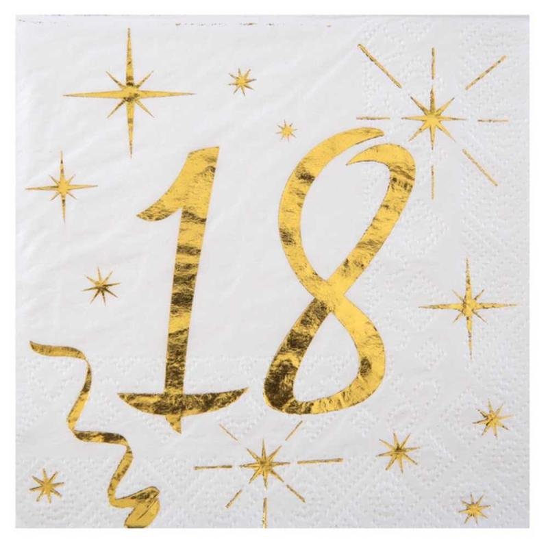 20 serviettes anniversaire 18 ans m tallis es or serviette de table papier creavea. Black Bedroom Furniture Sets. Home Design Ideas
