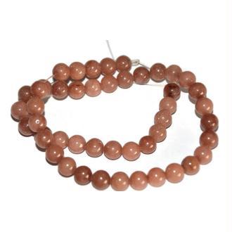 47 Perles Jade Naturelles Marron 8mm