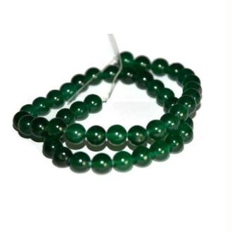 47 Perles Jade Naturelles Vert Foncé 8mm