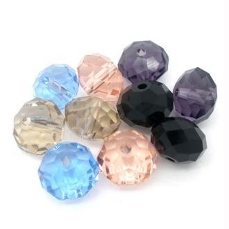50 Mixte Perles Rondelle Cristal verre murano multicolore 10 mm
