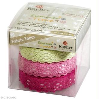 Fabric tape Kit - roses à dentelles - 15 mm x 1 m