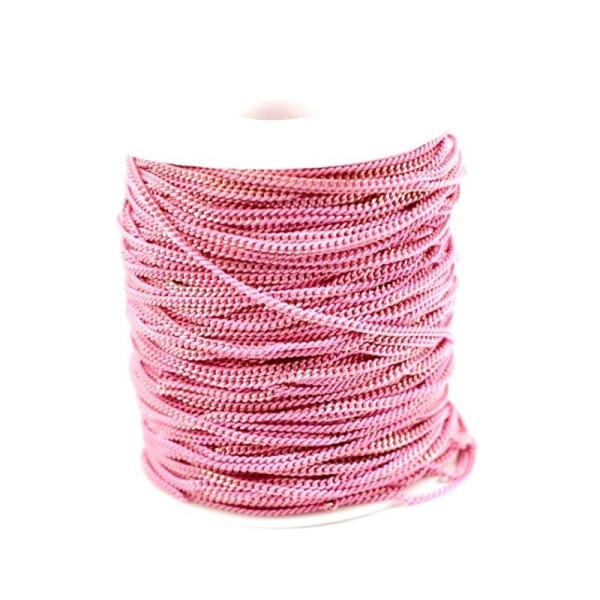 1 m Chaîne au mètre maille fine 3x2x0.6 mm - Maille gourmette - Couleur rose - Photo n°1