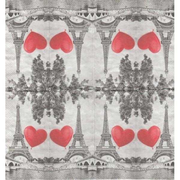 4 Mouchoirs en papier Paris Ville de l'amour Decoupage Decopatch 1383 Paper+Design - Photo n°1