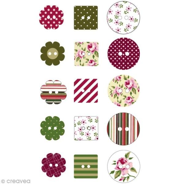 Assortiment de boutons décoratif en epoxy- roses x 30 - Photo n°2