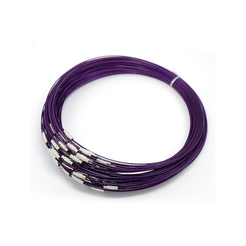 2 Colliers ras de cou tour fil métal câble à vis 44 cm couleur violet - 136d8a4c217