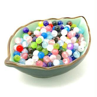 80 Perles style œil de chat en résine couleur mixte 6 mm