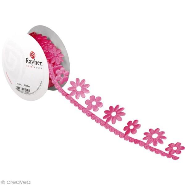 Ruban déco adhésif perforé - Fleurs roses - 3 cm x 2 m - Photo n°1