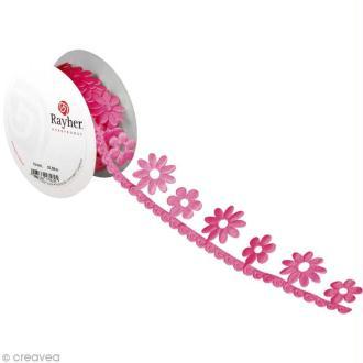 Ruban déco adhésif perforé - Fleurs roses - 3 cm x 2 m