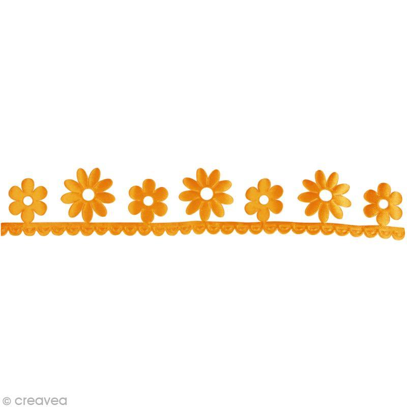Ruban déco adhésif perforé - Fleurs oranges  - 3 cm x 2 m - Photo n°2