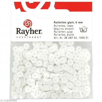 Sequin plat 6 mm Blanc mat - 1000 pcs