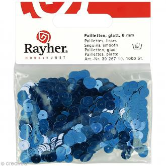 Sequin plat 6 mm Bleu nuit métallisé - 1000 pcs