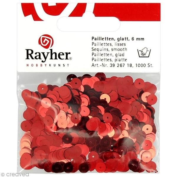 Sequin plat 6 mm Rouge métallisé - 1000 pcs - Photo n°1