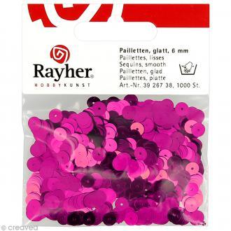 Sequin plat 6 mm Rose fuchsia métallisé - 1000 pcs