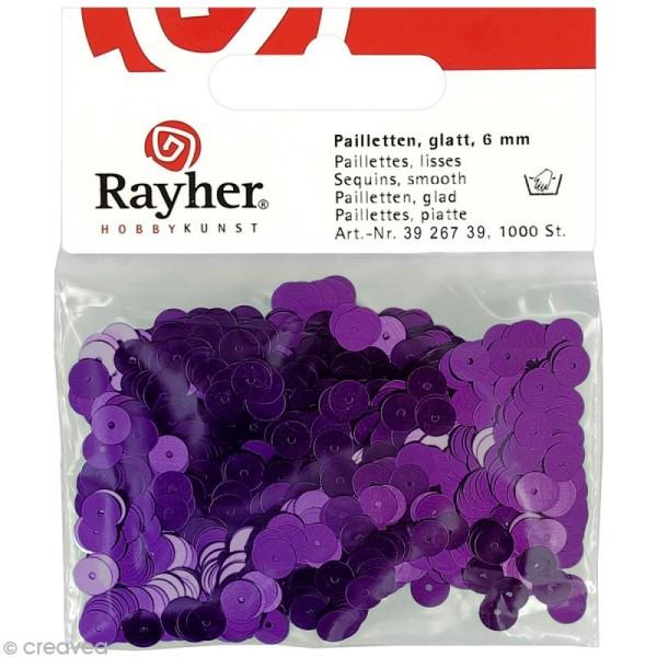 Sequin plat 6 mm Violet métallisé - 1000 pcs - Photo n°1
