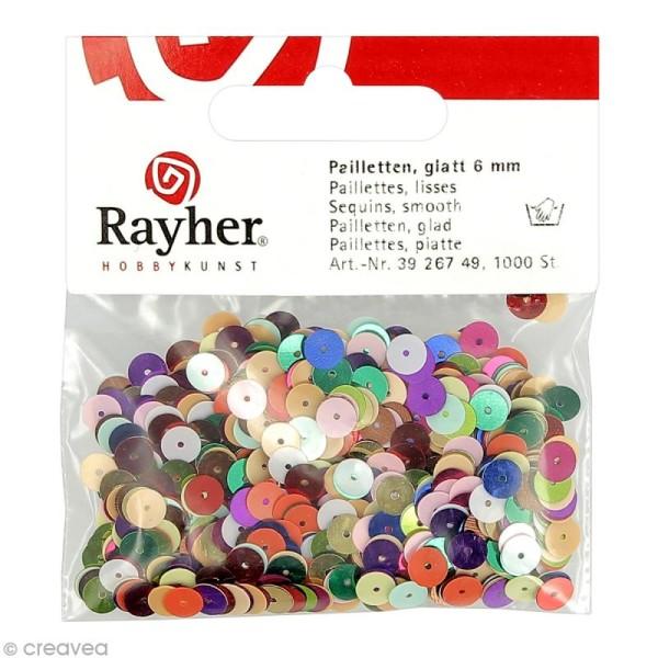 Sequin plat 6 mm Multicolore métallisé - 1000 pcs - Photo n°1