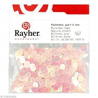 Sequin plat 6 mm Rose clair métallisé - 1000 pcs