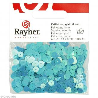 Sequin plat 6 mm Bleu ciel métallisé - 1000 pcs