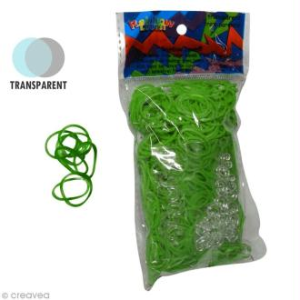 Recharge Rainbow loom 600 élastiques - Vert citron transparent + 24 fermoirs
