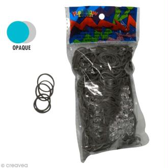 Recharge Rainbow loom 600 élastiques - Gris + 24 fermoirs
