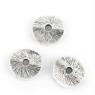 50 perles intercalaire Vagues argentées vieilli 9mm