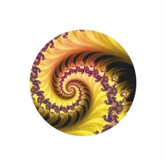 2 Cabochons Verre 12 mm, Cabochon Rond, Fractale, Jaune et Marron, Spirale