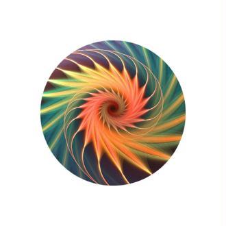 2 Cabochons Verre 14 mm, Cabochon Rond, Fractale, Corail, Spirale, Multicolore.