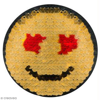 Smiley thermocollant à sequins réversibles - 8 x 8 cm