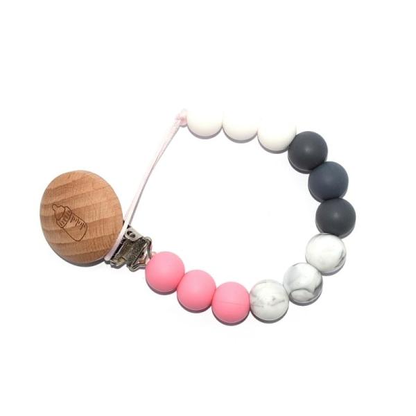 Attache Tétine Bois Biberon Perles Silicones Blanc Marbre Rose Et Gris Foncé