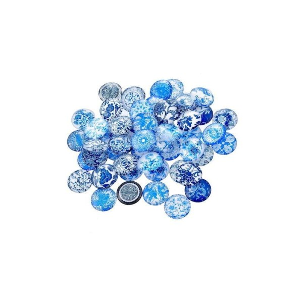 10 Cabochons Rond en verre embellissement motif fleurs bleu 12 mm - Photo n°1