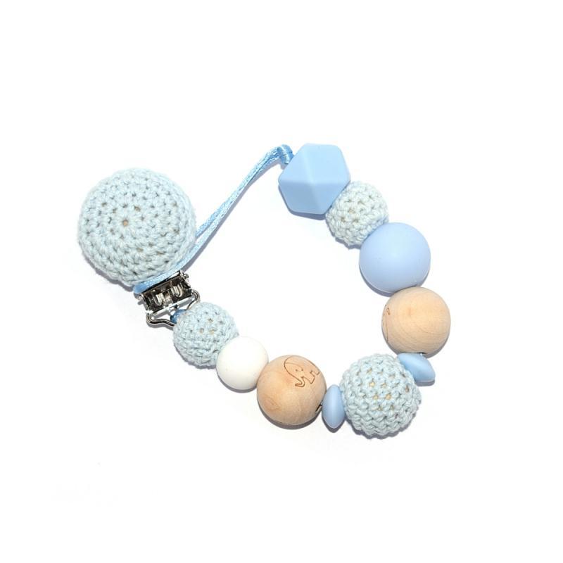 Attache t tine en crochet perles bois l phant et silicones bleu sucettes et t tines creavea - Perle en bois pour attache tetine ...